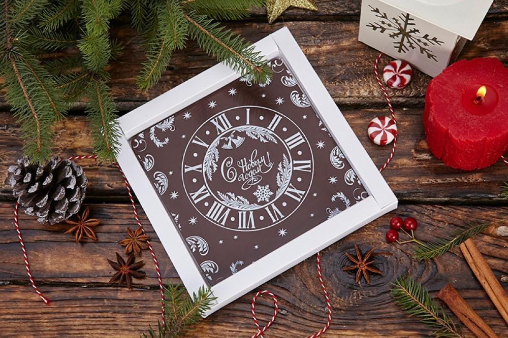 Шоколадная открытка-телеграмма Часы