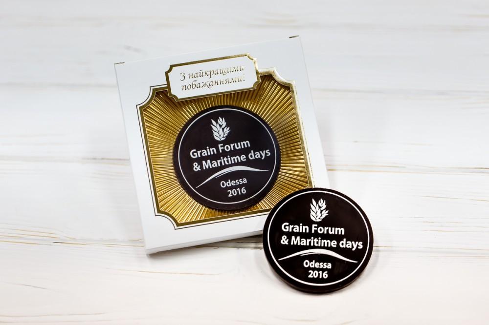 Шоколадная медаль с логотипом компании