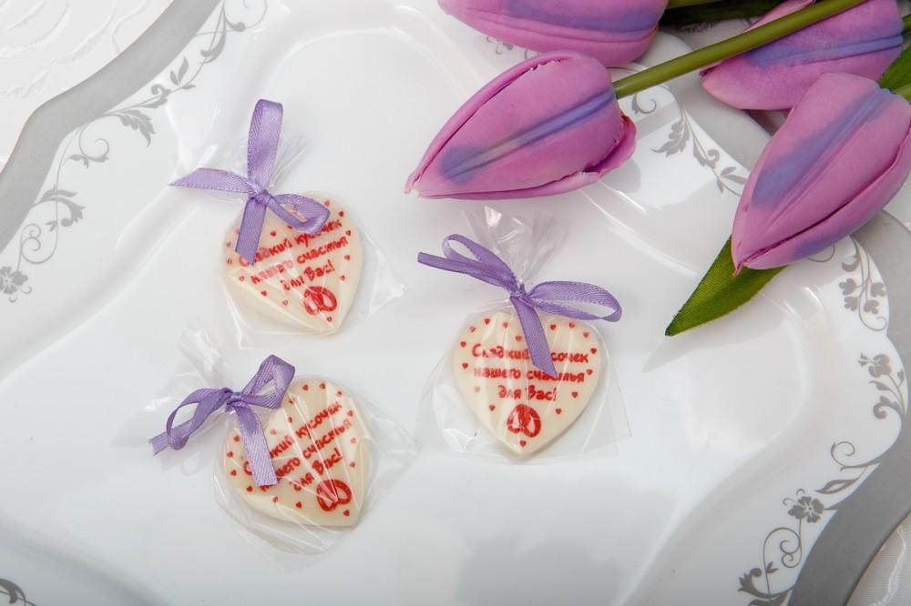Шоколадные сердца на свадьбу (40 мм)