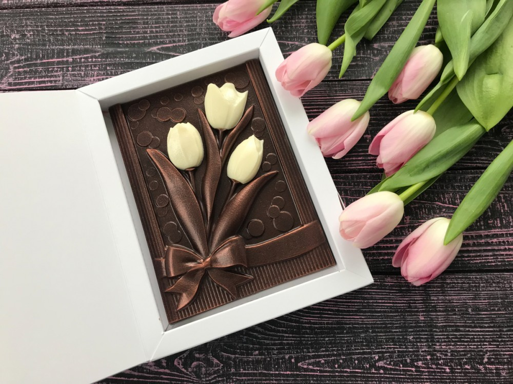 Шоколадные тюльпаны с пожеланиями
