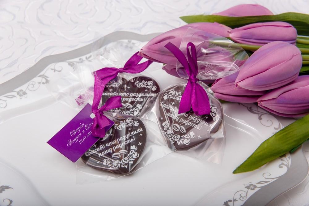 Шоколадное сердце на свадьбу (60 мм)